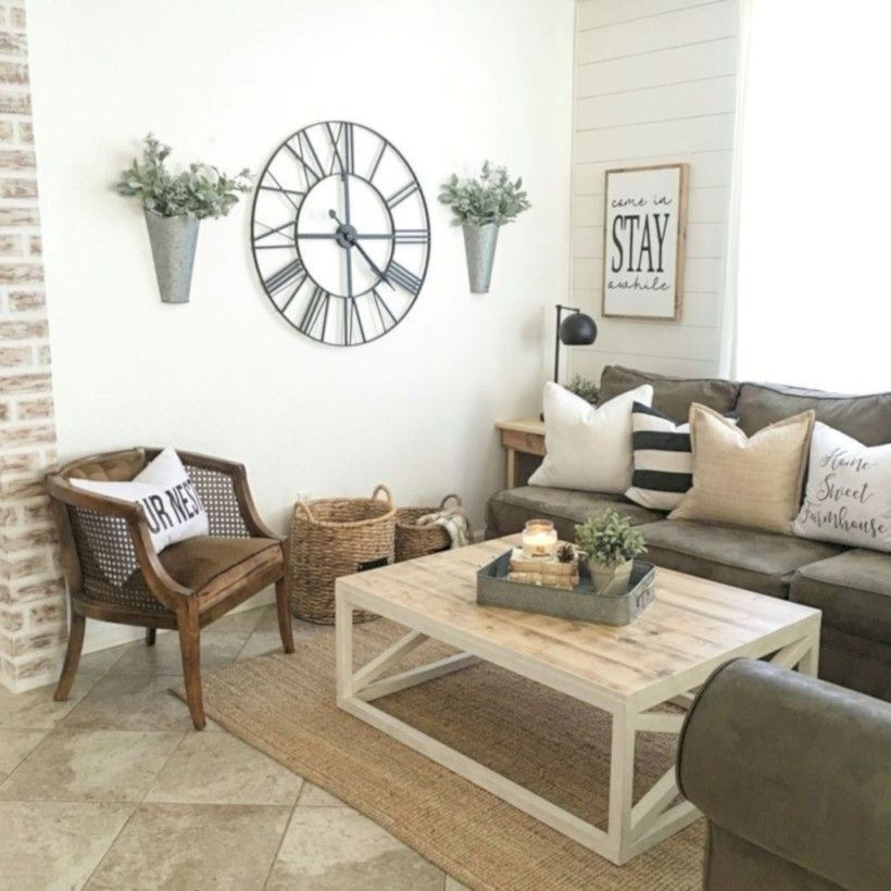Rustic modern farmhouse living room decor ideas 14