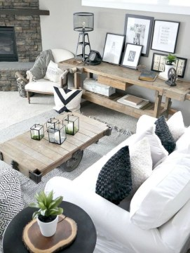 Rustic modern farmhouse living room decor ideas 17