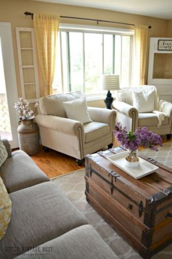 Rustic modern farmhouse living room decor ideas 41