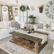 Rustic modern farmhouse living room decor ideas 46