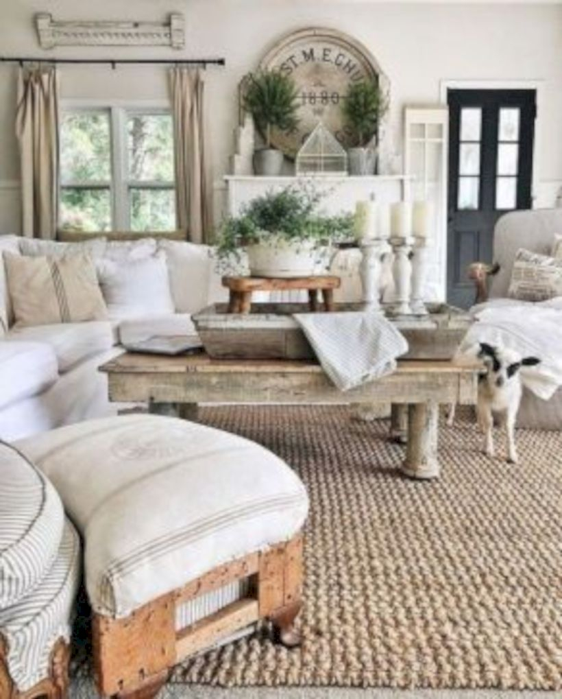 Rustic modern farmhouse living room decor ideas 48