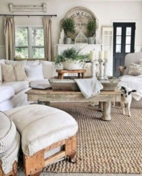 Rustic modern farmhouse living room decor ideas 48