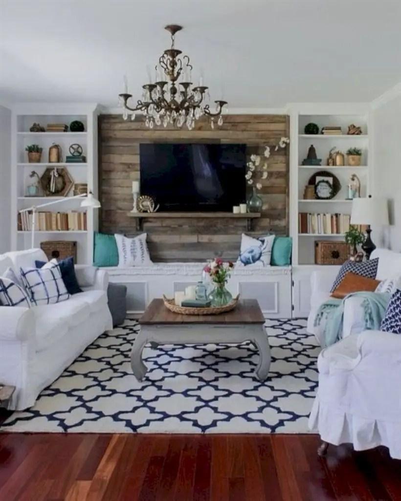 Rustic modern farmhouse living room decor ideas 60