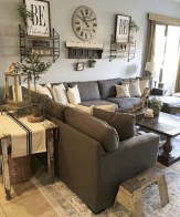 Rustic modern farmhouse living room decor ideas 72