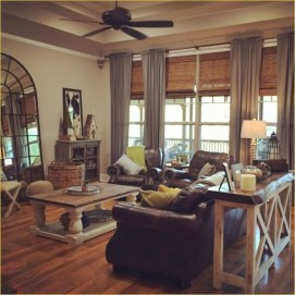 Rustic modern farmhouse living room decor ideas 91