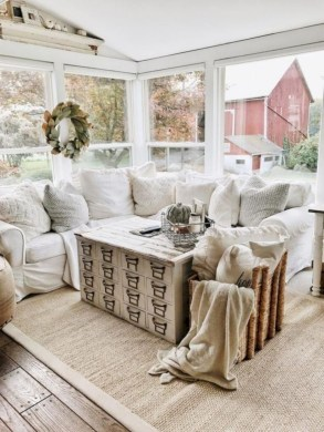 Rustic modern farmhouse living room decor ideas 96