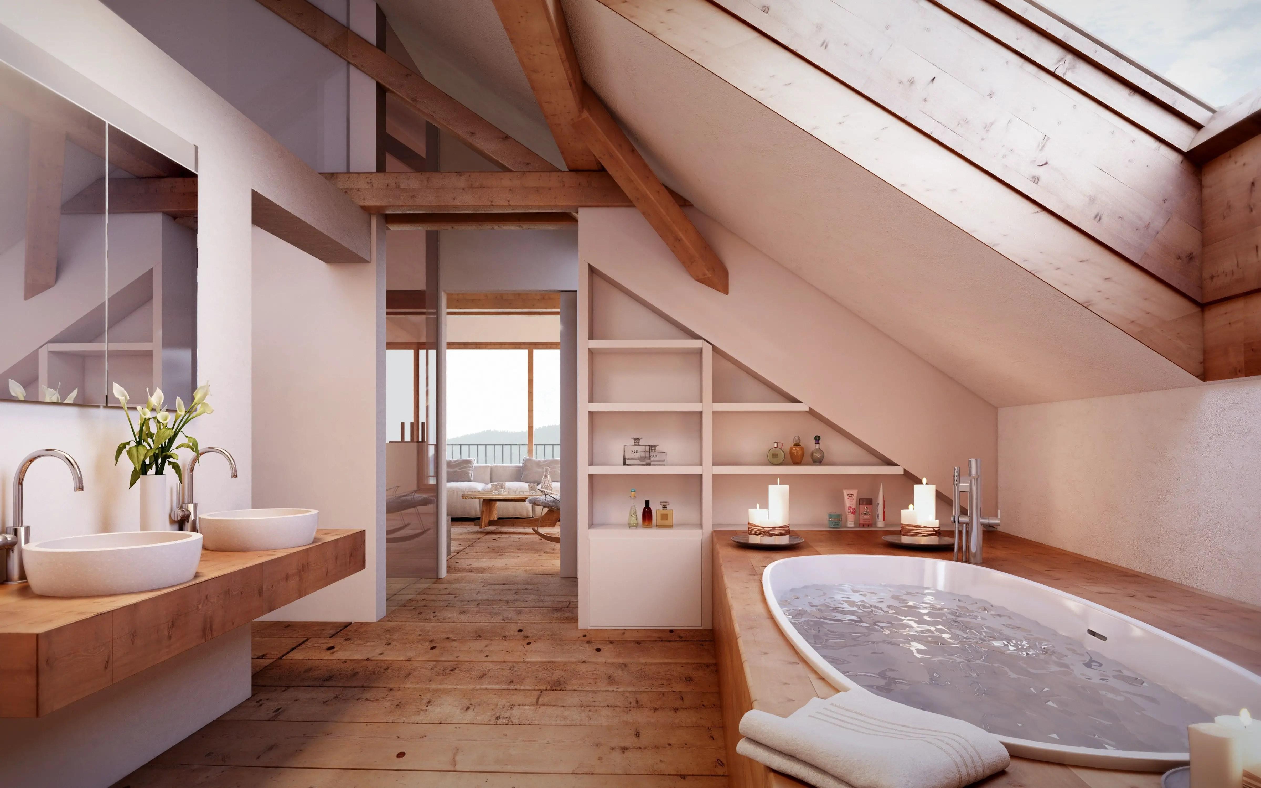 Unique attic bathroom design ideas for your private haven 33