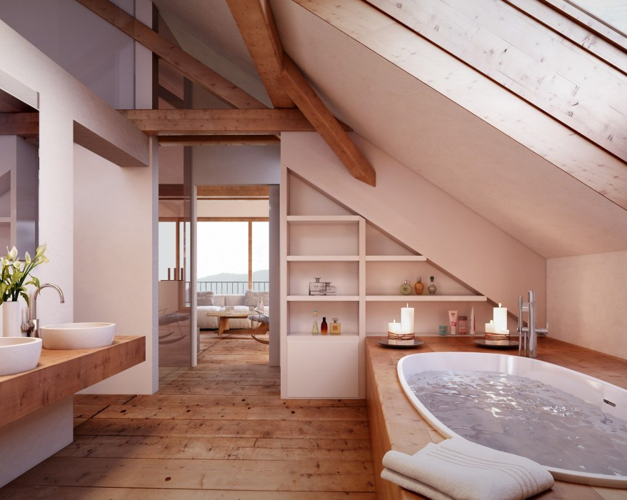 Unique attic bathroom design ideas for your private haven 33