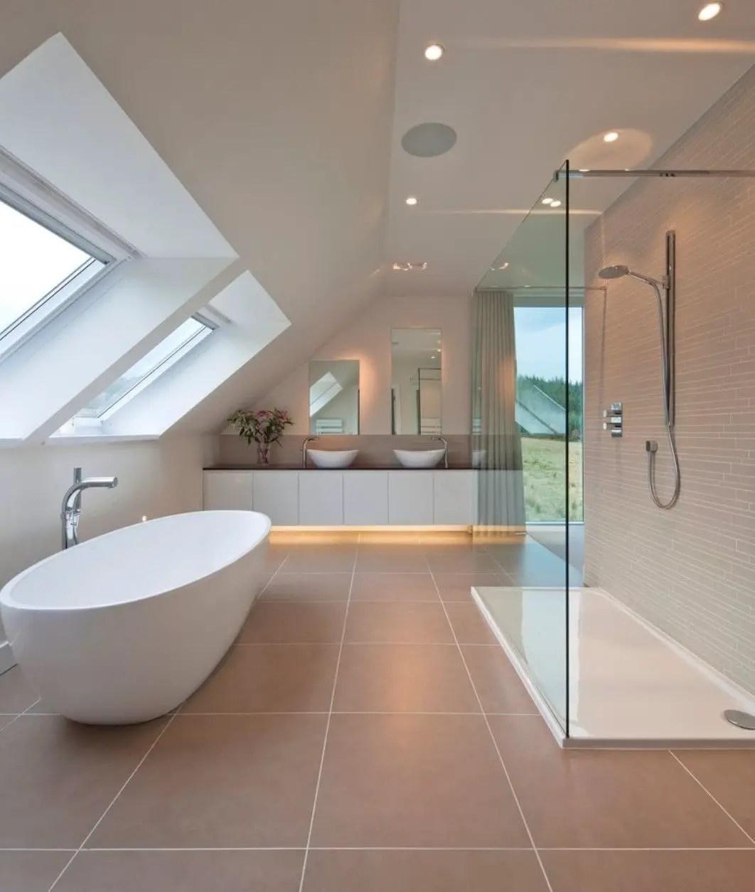 Unique attic bathroom design ideas for your private haven 34
