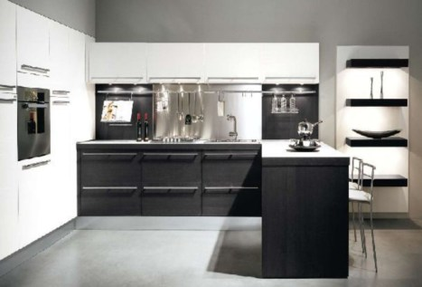 Stylist and elegant black and white kitchen ideas 26