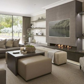 Adorable and cozy neutral living room design ideas 18