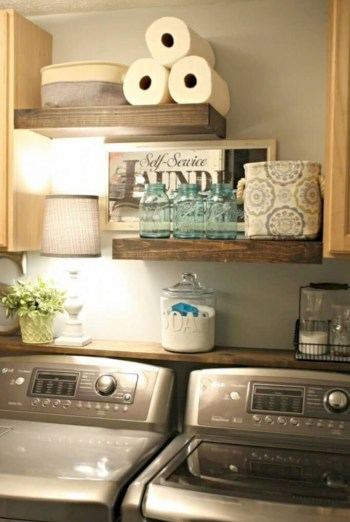 Laundry room storage shelves ideas to consider 21