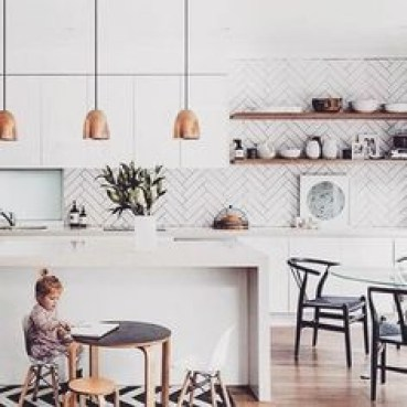Modern herringbone pattern to give unique elements to your kitchen 38