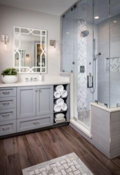 Stunning herringbone patterns for your bathroom wall 14