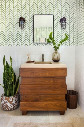 Stunning herringbone patterns for your bathroom wall 36