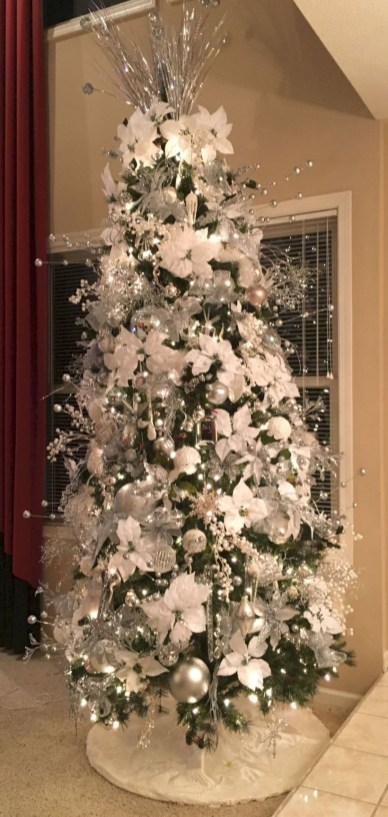 Awesome silver and white christmas tree decorating ideas 41