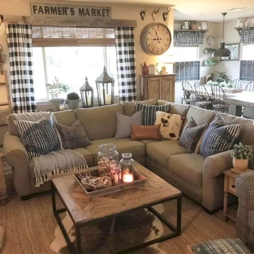 Awesome country farmhouse decor living room ideas 11