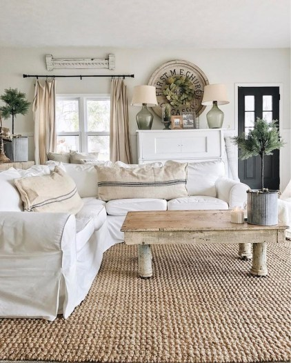 Awesome country farmhouse decor living room ideas 16