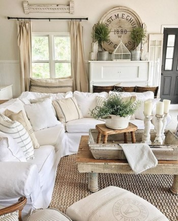 Awesome country farmhouse decor living room ideas 18