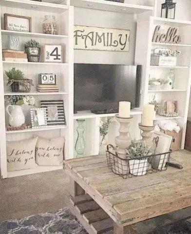 Awesome country farmhouse decor living room ideas 21