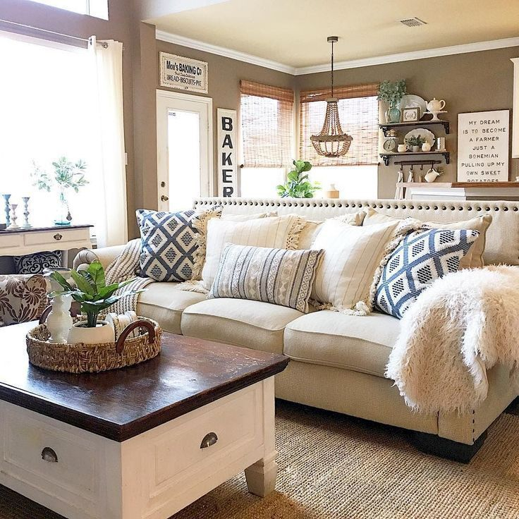 Awesome country farmhouse decor living room ideas 37