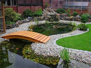 Design a fish pond garden with a waterfall concept 18