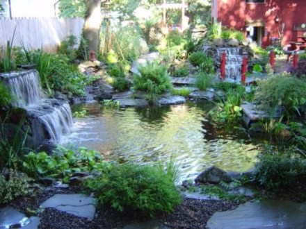 Design a fish pond garden with a waterfall concept 21