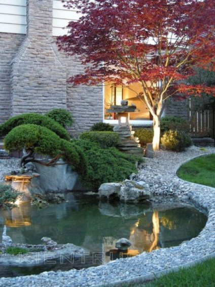Design a fish pond garden with a waterfall concept 33