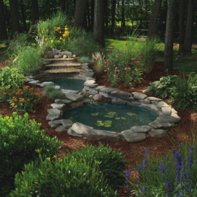 Design a fish pond garden with a waterfall concept 36