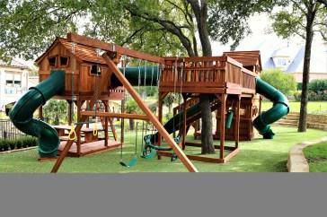 Backyard design ideas with children's slides 07