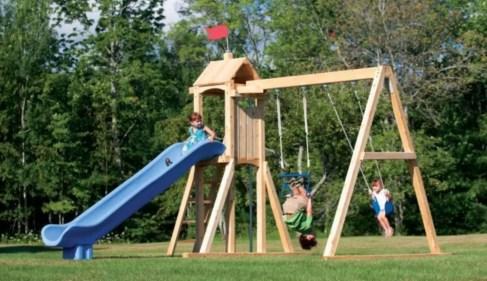 Backyard design ideas with children's slides 13