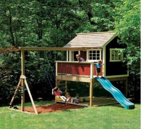 Backyard design ideas with children's slides 19