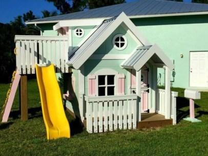 Backyard design ideas with children's slides 23