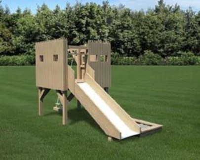 Backyard design ideas with children's slides 24