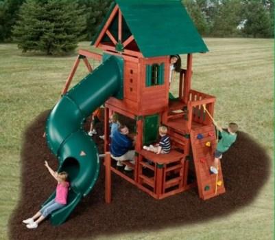 Backyard design ideas with children's slides 33