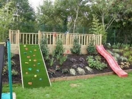 Backyard design ideas with children's slides 35