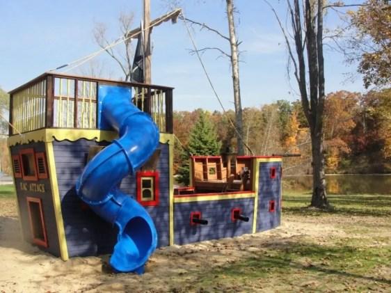 Backyard design ideas with children's slides 39