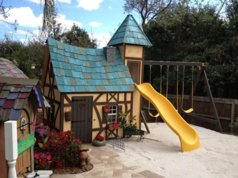 Backyard design ideas with children's slides 43