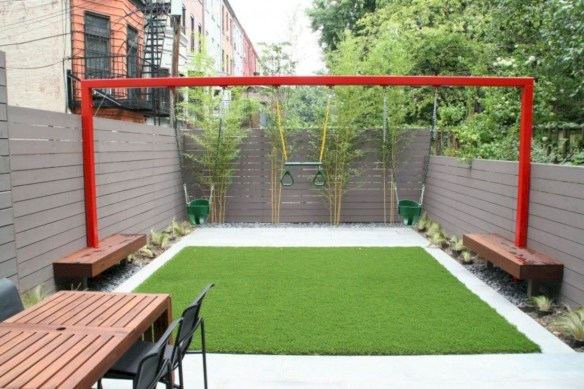 Garden exterior design ideas using grass that make your home more fresh 34