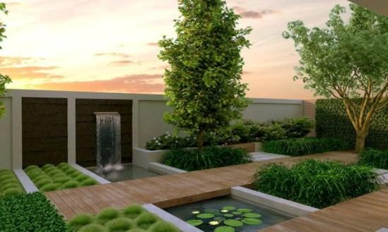 Garden exterior design ideas using grass that make your home more fresh 35