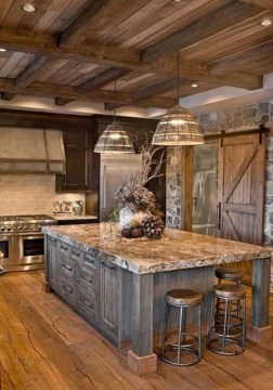 Rustic kitchen cabinet design ideas are very popular this year 24