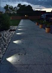 Front yard exterior design with beautiful garden lights 03