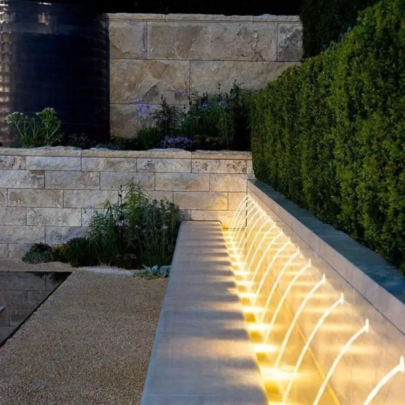 Front yard exterior design with beautiful garden lights 04