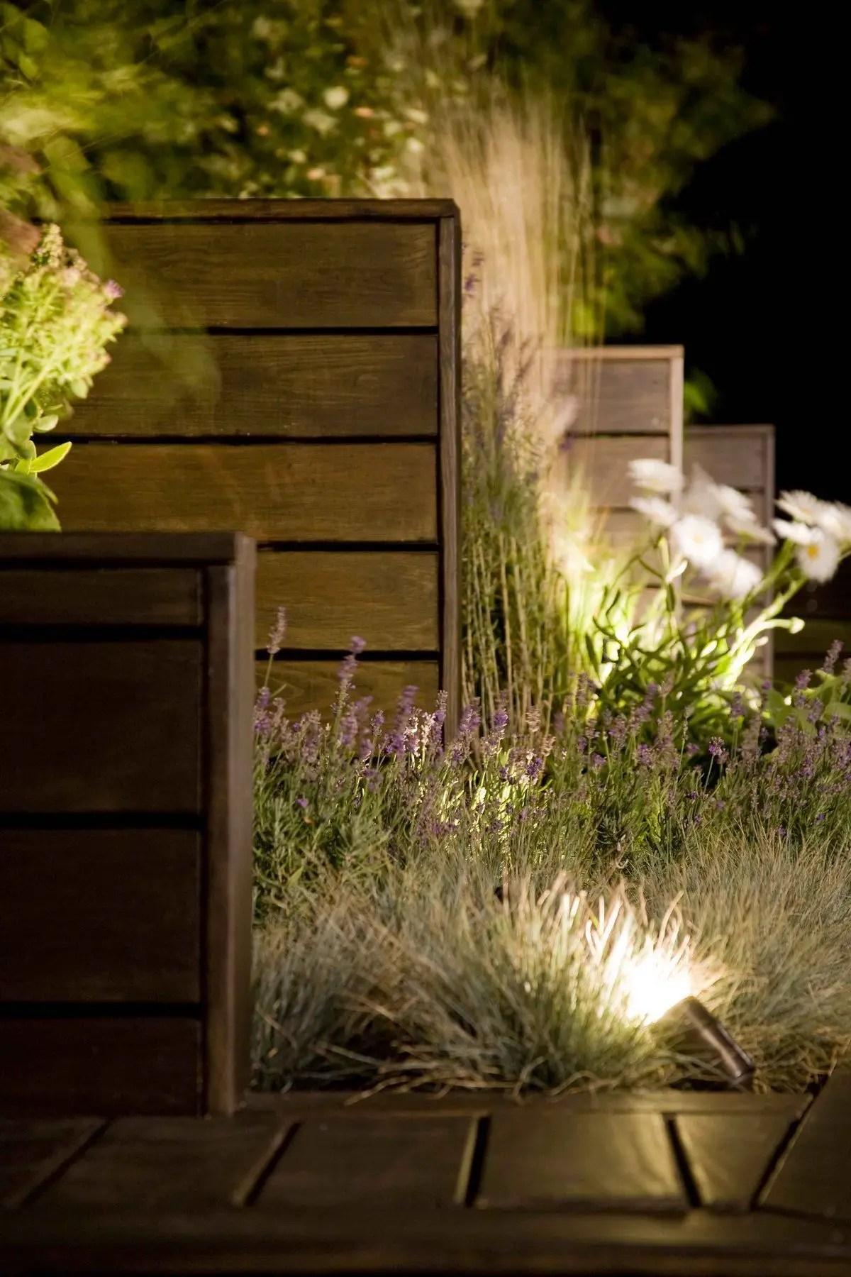 Front yard exterior design with beautiful garden lights 07