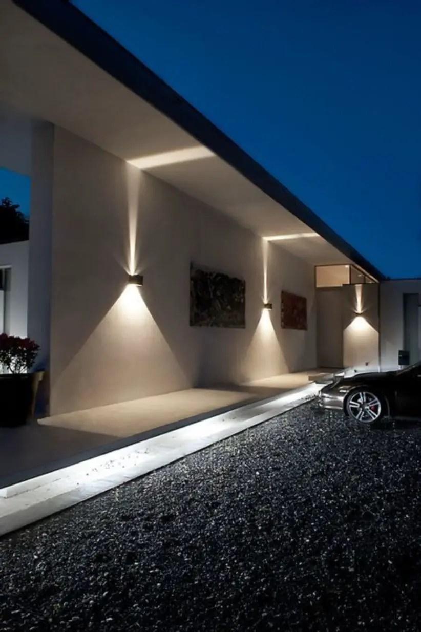 Front yard exterior design with beautiful garden lights 16