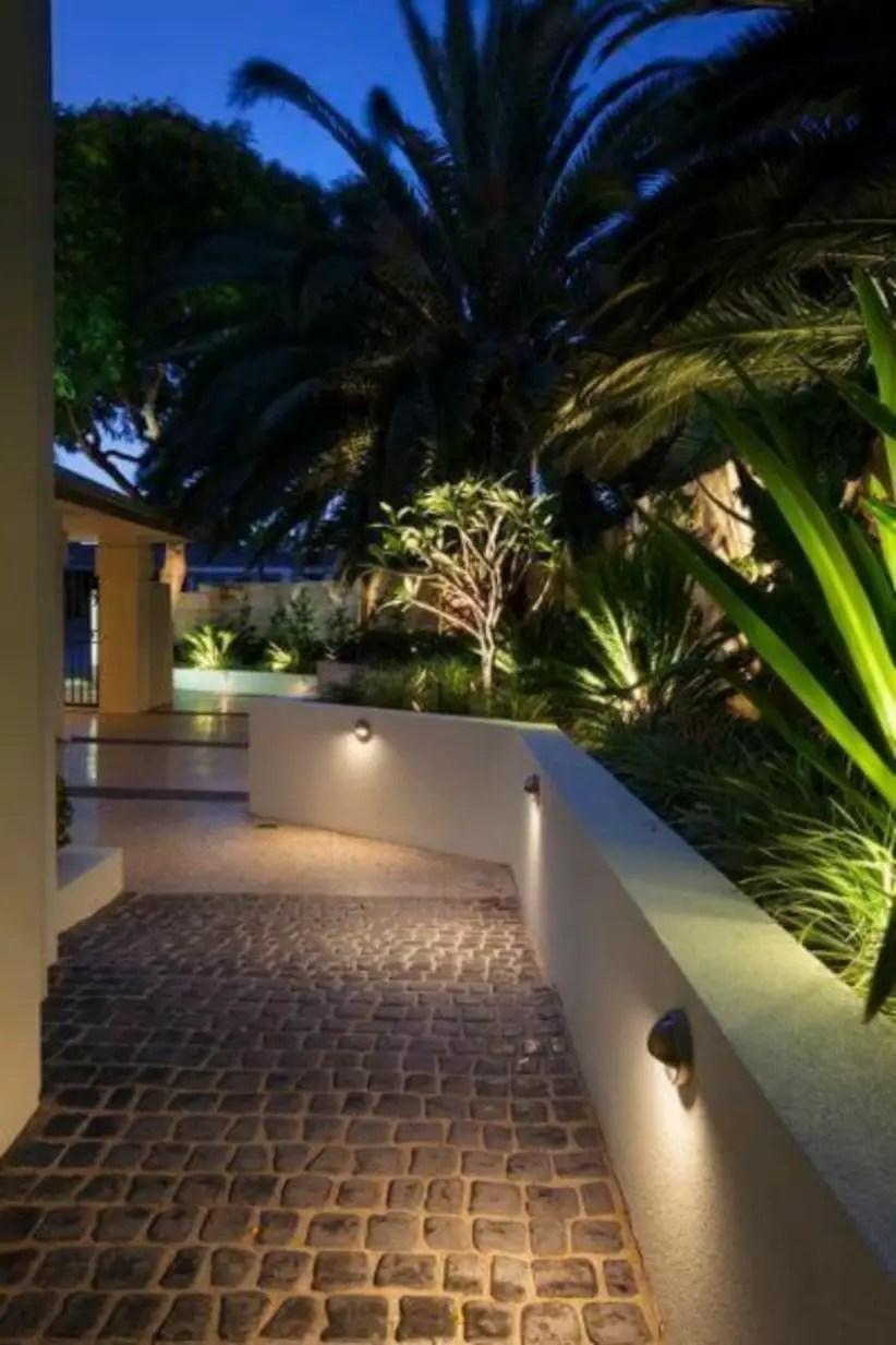 Front yard exterior design with beautiful garden lights 17