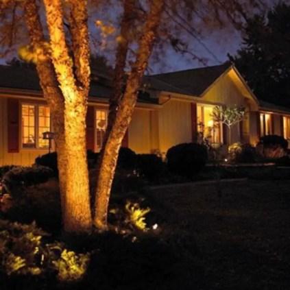 Front yard exterior design with beautiful garden lights 20