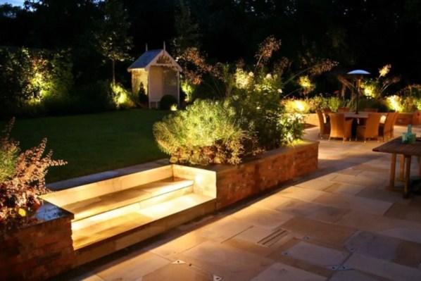 Front yard exterior design with beautiful garden lights 27