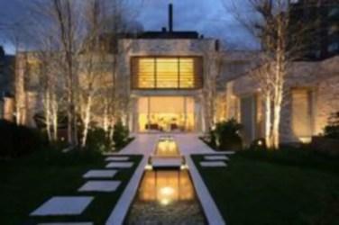 Front yard exterior design with beautiful garden lights 33
