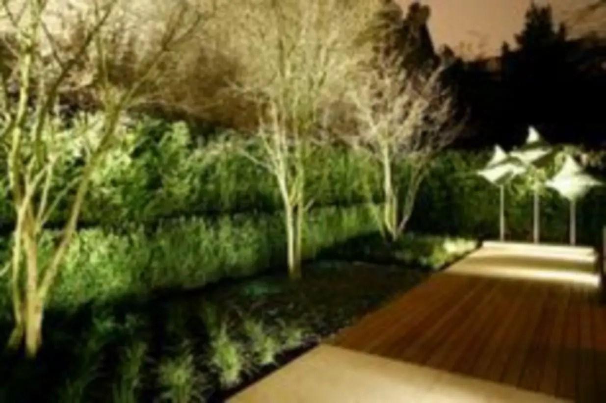 Front yard exterior design with beautiful garden lights 34